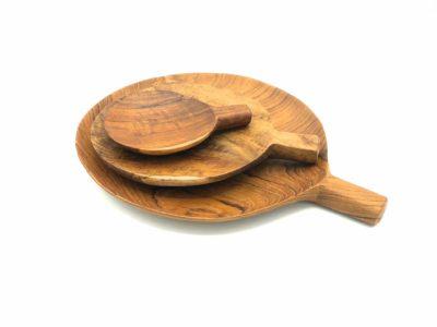 Platos con mango de madera de teca