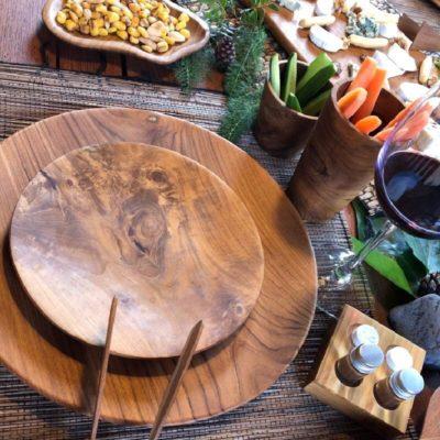 Menaje de mesa en madera de teca