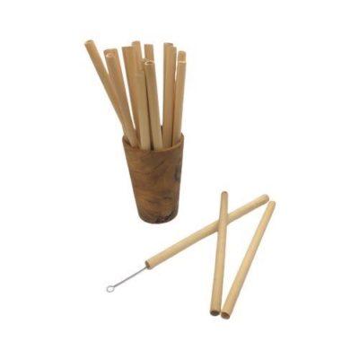 Conjunto de vaso con pajitas de bambú