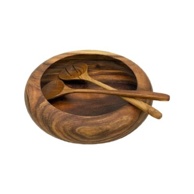 Cuenco donut de madera de teca y utensilios de cocina