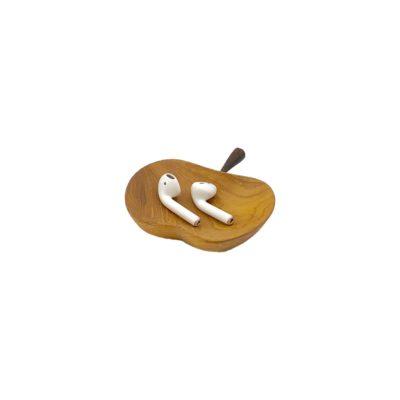 Bandeja manzana pequeña de madera de teca
