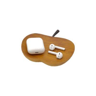 Bandeja manzana grande de madera de teca