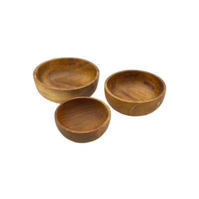 Cuencos redondos de madera de teca