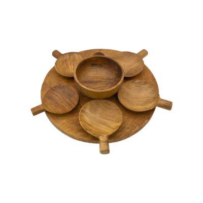 Conjunto bandeja, cuenco y platos con mango de madera de teca
