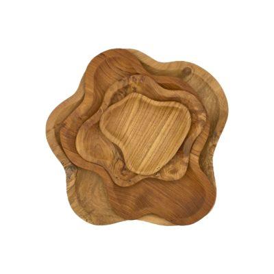Conjunto de bandejas irregulares de teca
