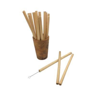 Vaso de madera de teca con pajitas de bambú