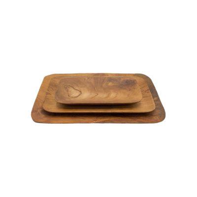 Bandejas rectangulares de madera de teca