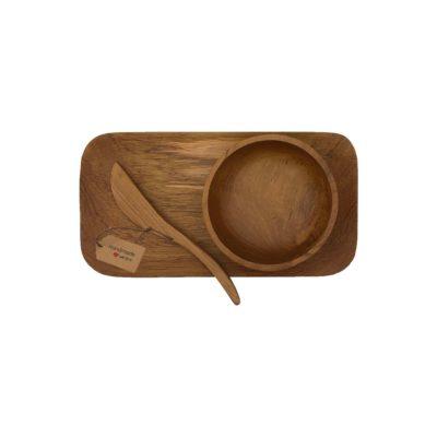 Vista superior set regalo desayuno en teca