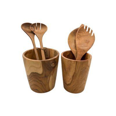 Bote y utensilios de cocina en dos tamaños en madera de teca